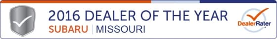 2016 Missouri Subaru Dealer of the Year by Dealer Rater