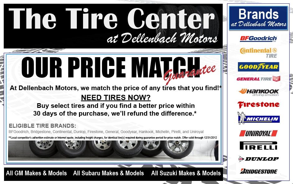 Tire center subaru chevrolet cadillac tires for sale at for Dellenbach motors used cars
