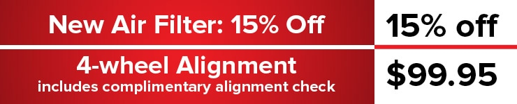 New Air Filter 15% / 4-Wheel Alignment