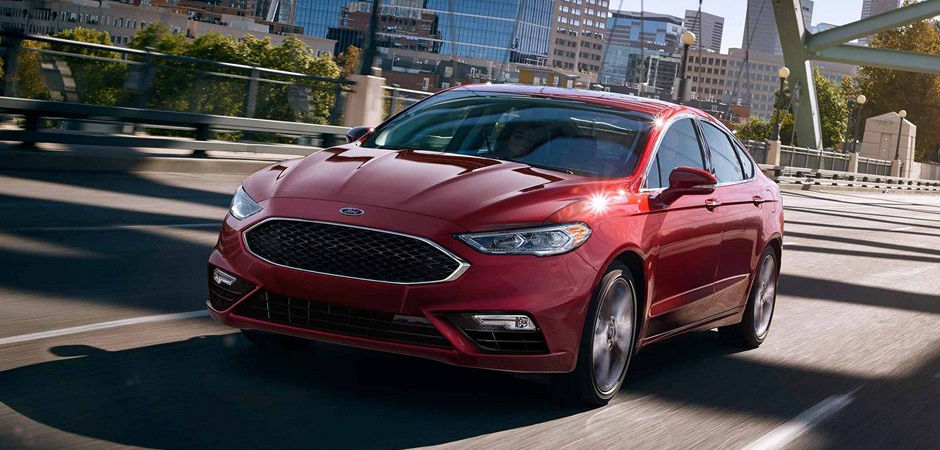 A red 2018 Ford Fusion