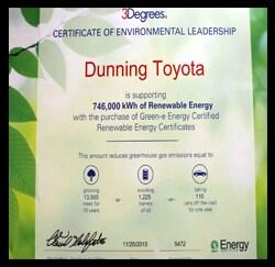 Certificate Of Environmental Leadership Photo, Toyota Dealers, Michigan - Dunning Toyota