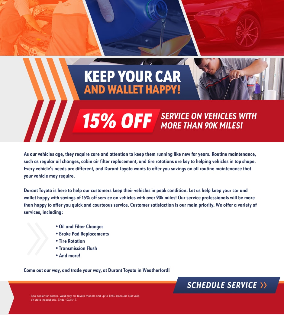 durant toyota new toyota dealership in weatherford tx 76086 high mileage service offer