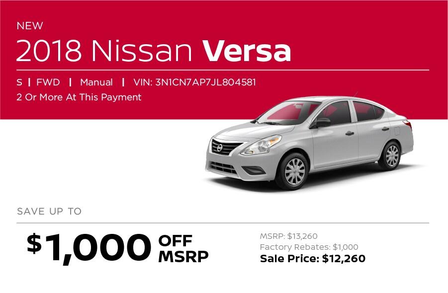 Nissan Versa Special Offer