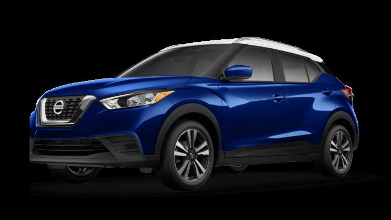 A blue 2020 Nissan Kicks SV