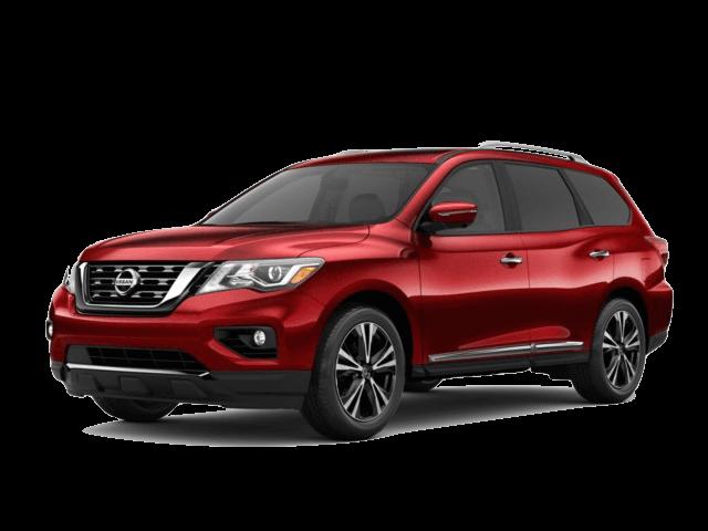 A red 2020 Nissan Pathfinder Platinum