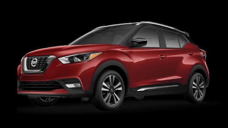 A red 2020 Nissan Kicks SR