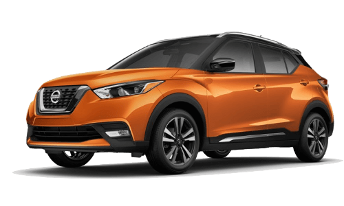 An orange Nissan Kicks