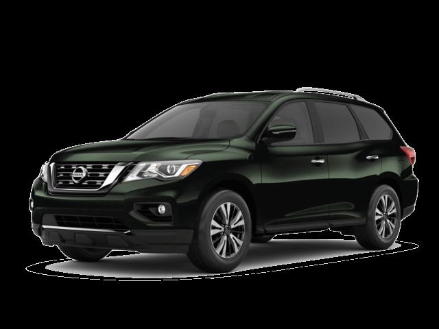 A green 2020 Nissan Pathfinder SV