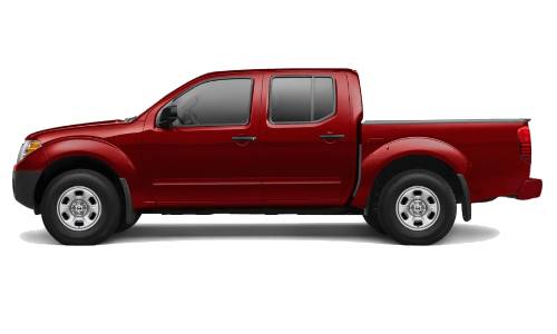 A red Nissan Frontier