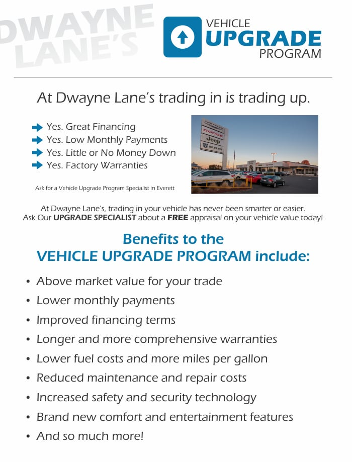 Trade In Your Current Vehicle at Dwayne Lane's CJDR for an Upgrade