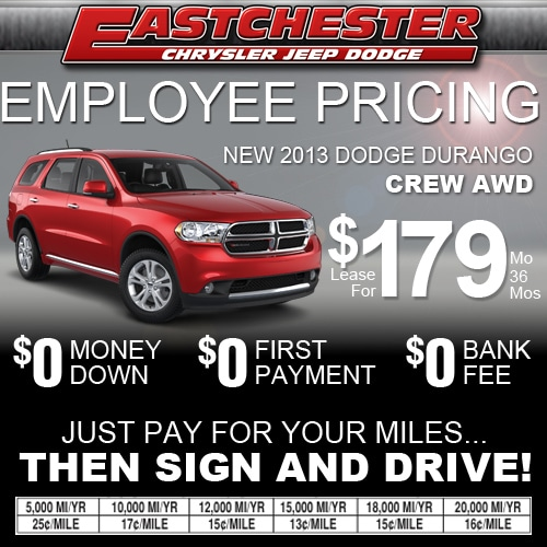 Employee Lease Pricing On The 2013 Dodge Durango Crew