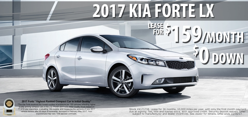 2017 Kia Forte lease for only $159.00 a month