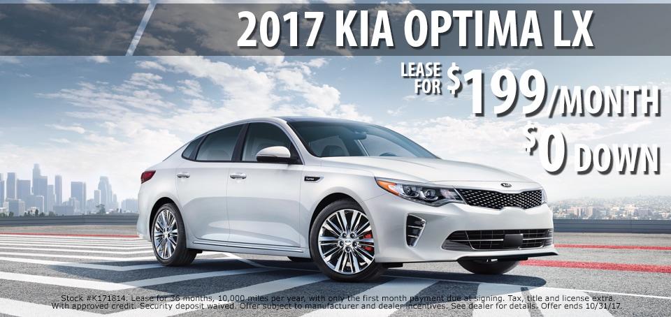 2017 Kia Optima lease for $199.00 a month