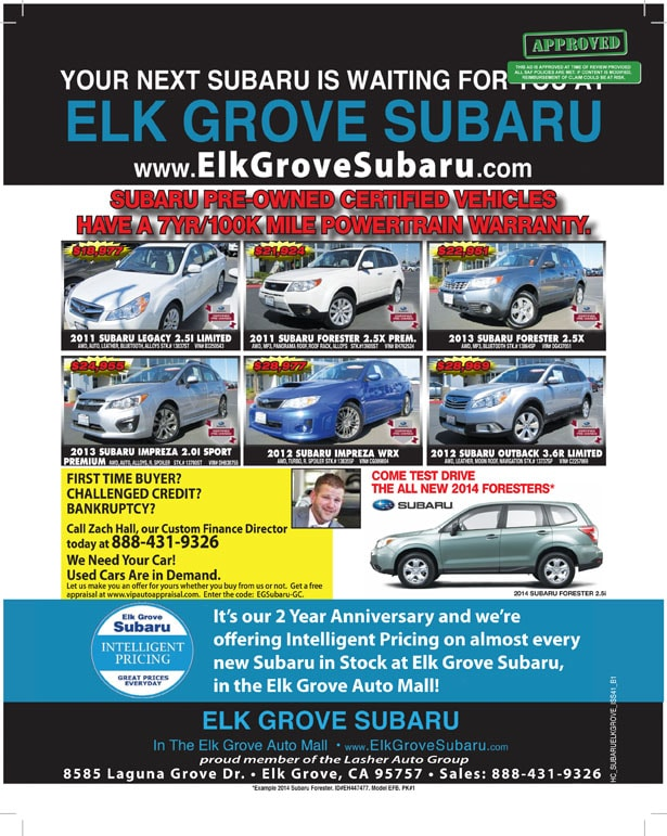 Sacramento Area Subaru Dealer Ad | New & Used Subaru ...