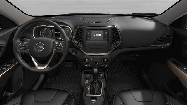 Black 2017 Jeep Cherokee interior and technology in St. Louis, MO
