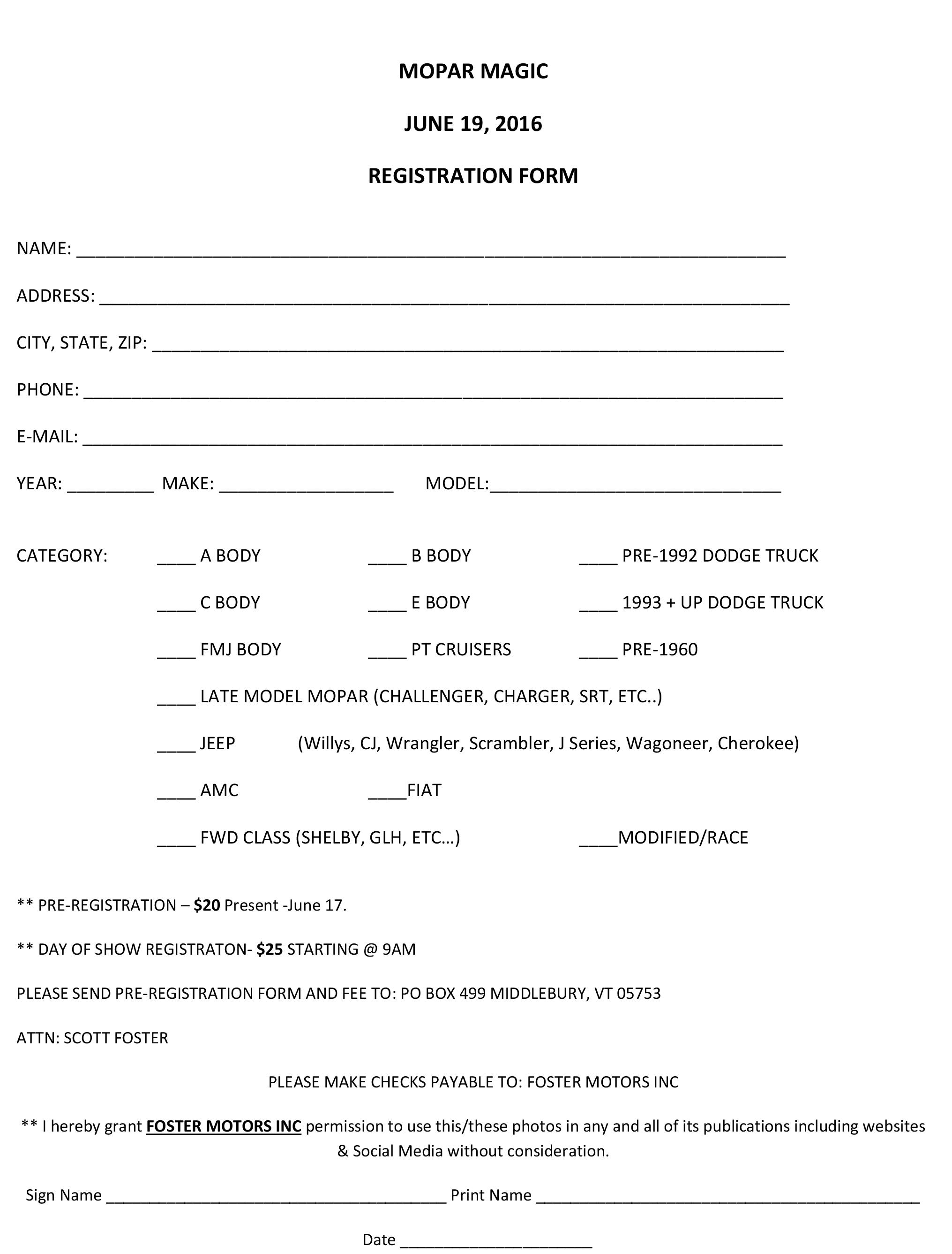 Mopar Magic Show Registration Foster Motors In Rutland Vt