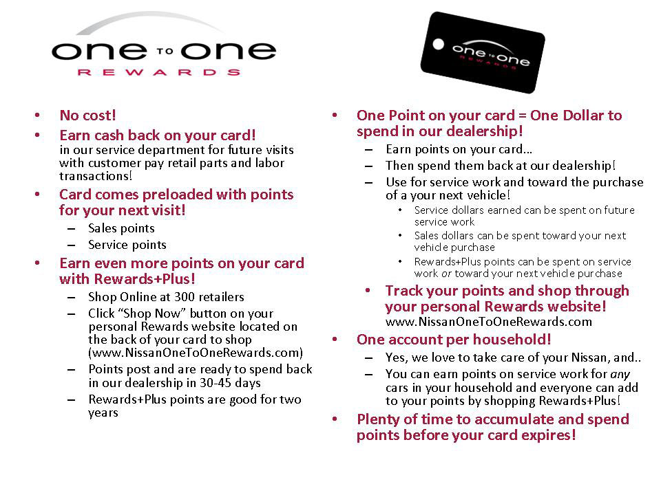 One to One Rewards at Freedom Nissan | South Burlington Auto ...