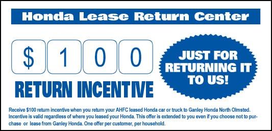 Picture Of Return Incentive Offered At Honda Dealers, Cleveland - Ganley Honda