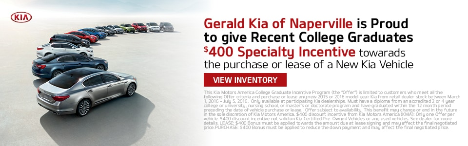 Special $400 incentive offer for recent College Graduate for to purchase or lease a New Kia at Gerald Kia of Naperville