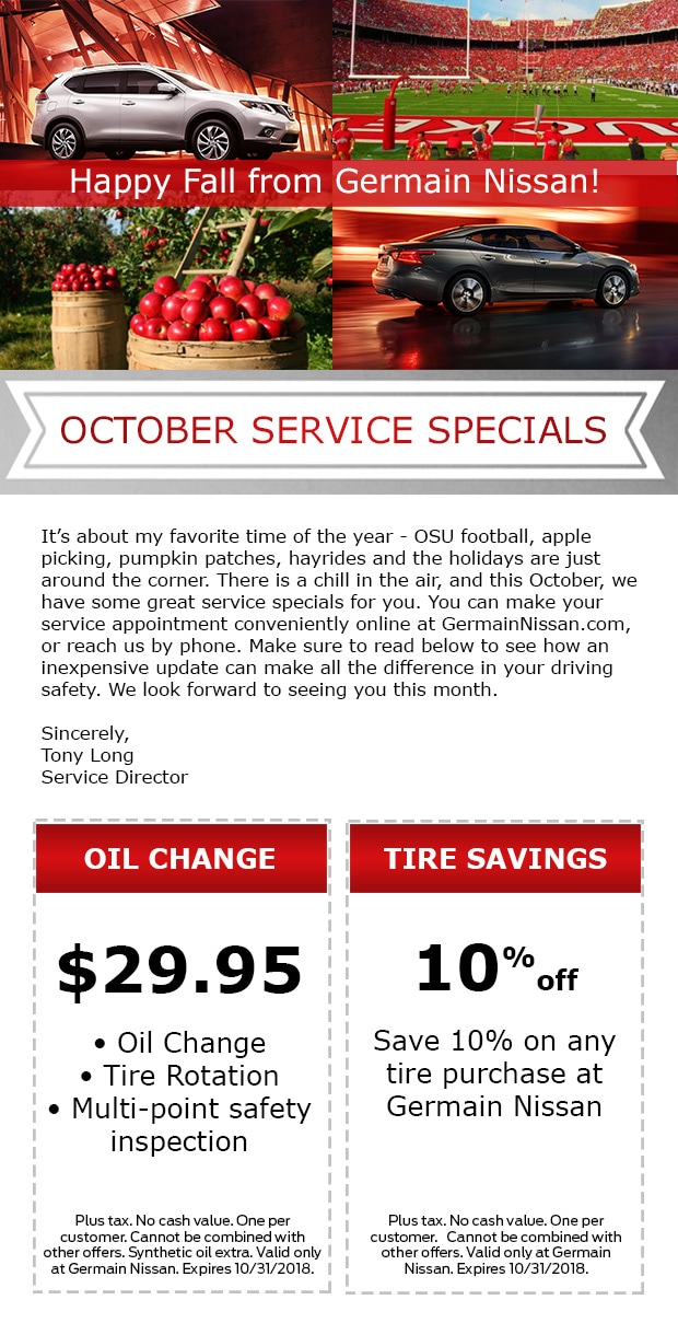 Germain Nissan Service Specials In Columbus, OH
