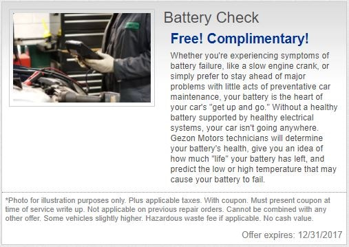 Gezon Motors Special on Free Battery Check