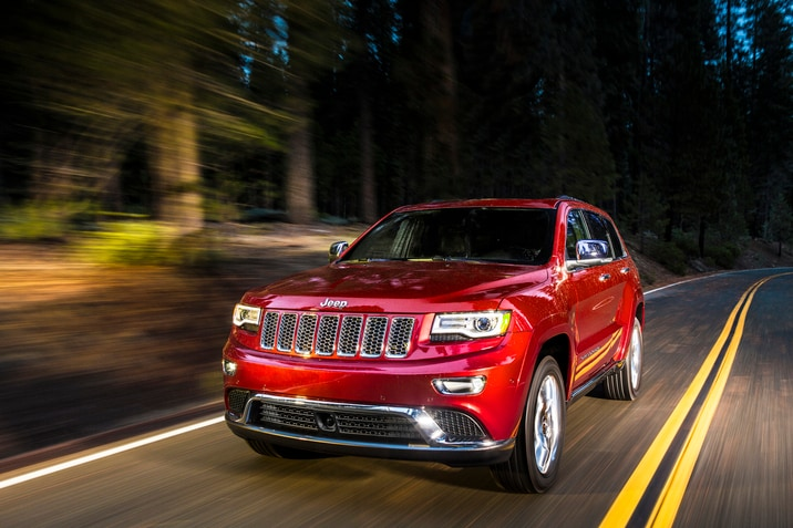 Red Jeep Grand Cherokee SUV