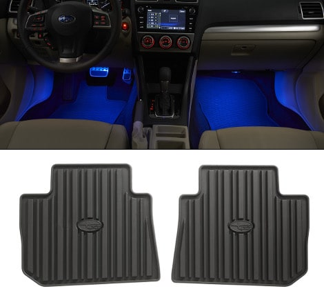 Subaru Interior lighting and floor mat accessories