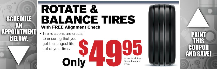 Money Saving Auto Service Coupon from Gwinnett Place Ford in Duluth near Atlanta for Rotate and Balance Tires