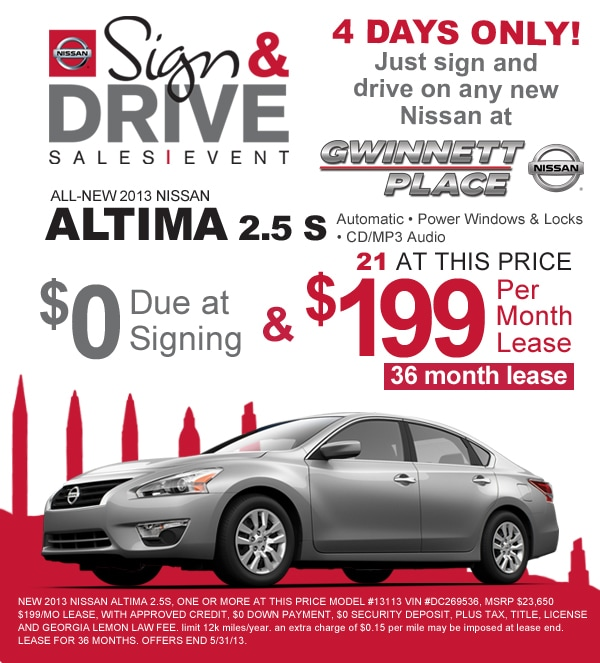nissan sign and drive sales event in duluth georgia zero down on new nissans. Black Bedroom Furniture Sets. Home Design Ideas