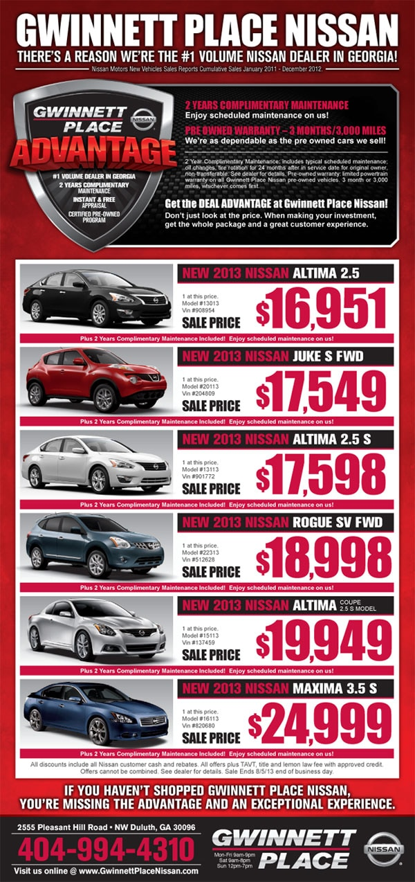 Atlanta New Nissan Amp Used Car Special Ads From Gwinnett