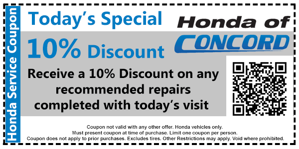 10 for Concord honda service coupons