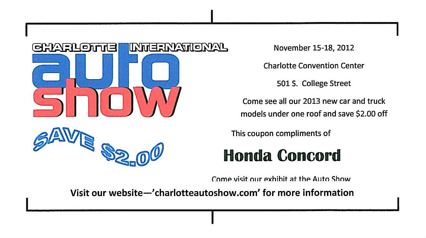 Honda of concord the charlotte international auto show for Concord honda service coupons