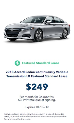 2018 Honda Accord LX Lease Offer Near Fort Worth TX