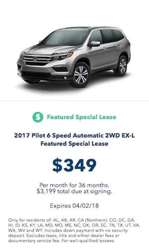 2018 Honda Pilot Lease Offer Near Fort Worth TX