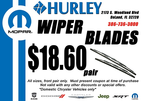Wiper Blade Special in DelLand Florida at Hurley Cars