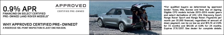 0.9% APR Financing on CPO Land Rover Models