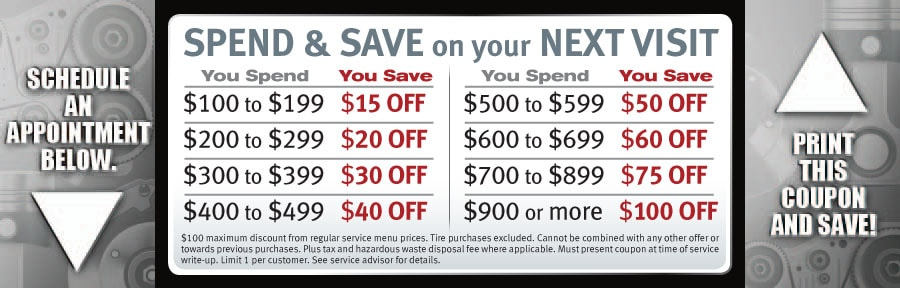 Spend & Save on your next visit