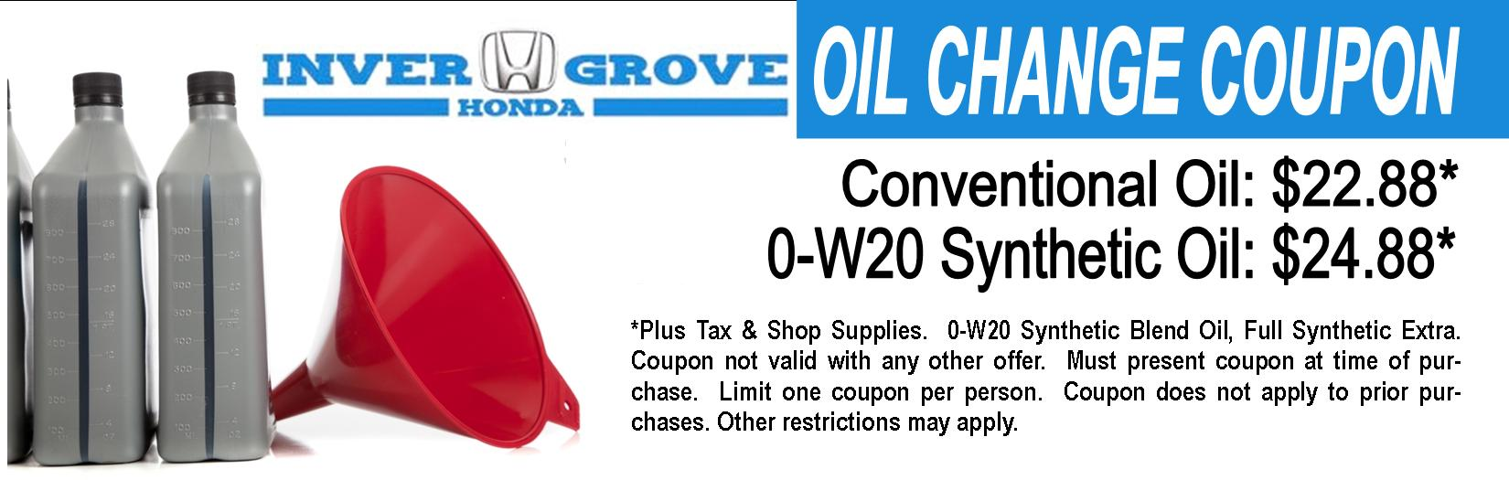 Inver grove honda service special coupons don 39 t miss out for Honda a1 service coupon