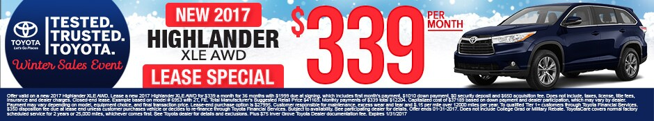 New Toyota Highlander Lease Special