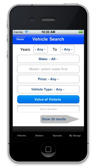 Mobile App to Browse Vehicles for Sale