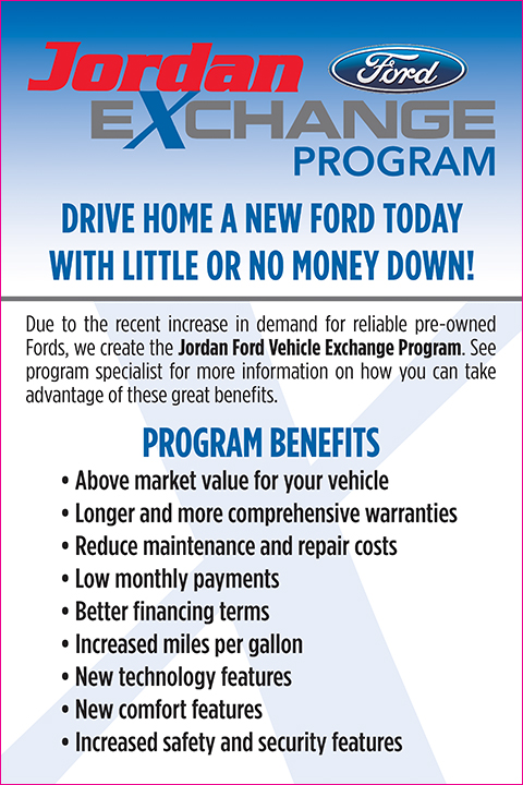 Jordan Ford Ltd Exchange Program  Used Car Exchange Program San