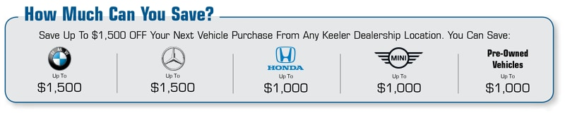 Save Up To $1,500 OFF Your Next Vehicle Purchase From Any Keeler Dealership Location
