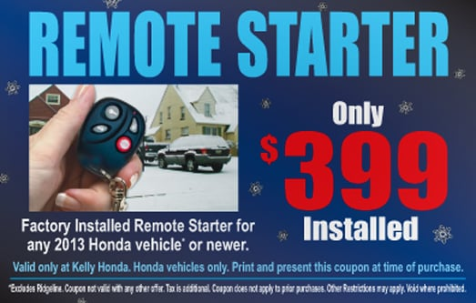 Must have coupon present at time of installation for Kelly honda lynn