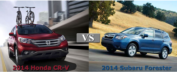 Head to head comparison 2014 honda cr v vs 2014 subaru for Honda crv vs subaru forester