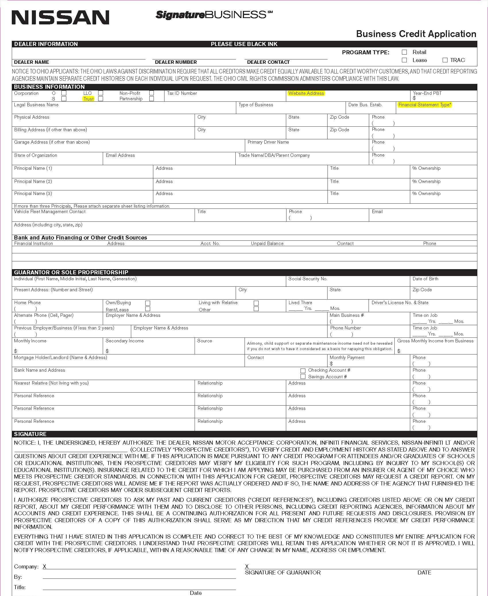 generic auto credit application pdf