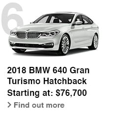 2018 BMW 640 Gran Turismo Hatchback, Starting at: $76,700, Find out more