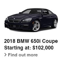 2018 BMW 650i Coupe, Starting at: $102,000, Find out more