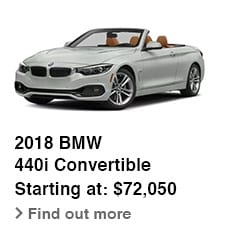 2018 BMW 440i Convertible, Starting at: $72,050, Find out more
