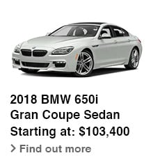 2018 BMW 650i Gran Coupe Sedan, Starting at: $103,400, Find out more