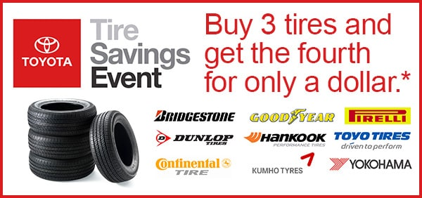 buy 3 get 1 for a dollar tire special at kerry toyota florence ky. Black Bedroom Furniture Sets. Home Design Ideas